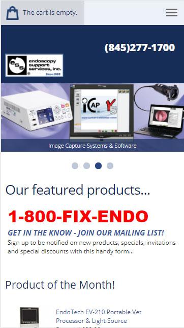 Screen shot of mobile view - endoscopy.com